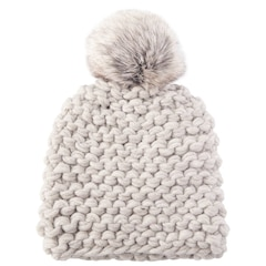 LOVE AND LORE GRANDE PURL-KNIT HAT PALE GREY