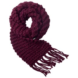 LOVE AND LORE GRANDE PURL-KNIT SCARF MERLOT