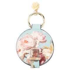 Mirror Fob - Painted Floral Aqua