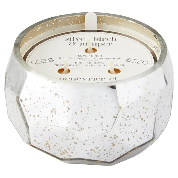 3-Wick Mercury Glass Candle - Silver Birch and Juniper