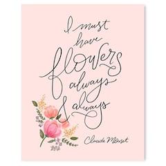 "Monet Must Have Flowers Art Print - 8"" x 10"""
