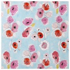 Reproduction sur toile 24 po x 24 po — Esquisse florale, Aigue-marine