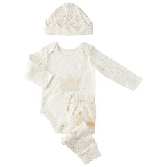 IndigoBaby x Petit Pehr Crown and Star Onesie, Pant & Hat Set 0-3 Months