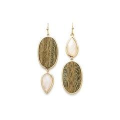 Oval Teardrop Earrings - Blonde & Moonstone