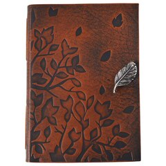 Leather Journal Tree Leaves Dark Brown
