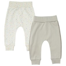 INDIGOBABY BASICS BABY PANT SET 2PK DOTS & GREY 6-12 MONTHS