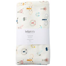 INDIGOBABY BASICS RECEIVING BLANKET ANIMALS