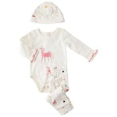 IndigoBaby x Petit Pehr Magical Unicorn Onesie, Pant & Hat Set 0-3 Months