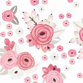 Pink Graphic Flowers Wall Decal