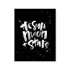 Imprimé artistique - Soleil, lune et étoiles - 8 x 10 po
