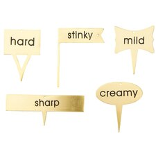 GOLD CHEESE MARKERS - SET OF 5