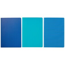 SET OF 3 SMALL NOTEBOOKS DOT RULED PLAIN TEAL