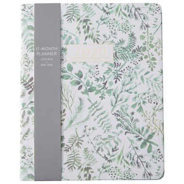 2019-2020 17-Month Planner Green Ferns