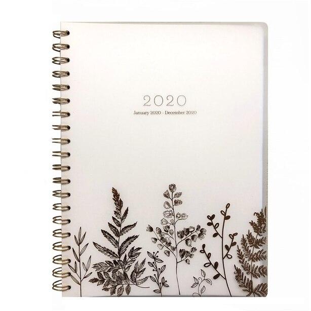 2020 12-Month Weekly Spiral Planner Pink Ferns
