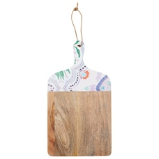 BEACH TILE ENAMEL AND WOOD SQUARE SERVING BOARD