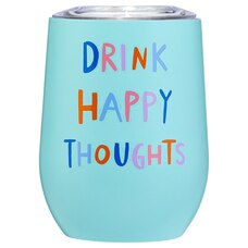 HAPPY THOUGHTS INSULATED WINE GLASS