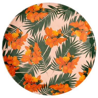 TROPICAL FLORAL MELAMINE ROUND OUTDOOR TRAY