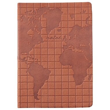LEATHER JOURNAL MAP GRID BROWN