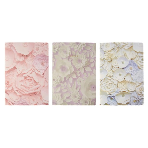 SET OF 3 NOTEBOOKS LARGE PAPER FLOWERS PINK
