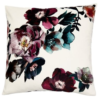 """HARVEST FLORAL PILLOW COVER – SOFT IVORY, 18"""" X 18"""""""