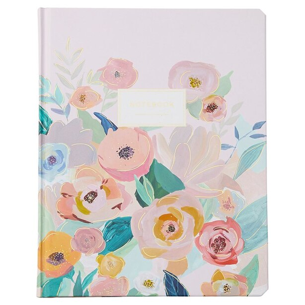 HARDCOVER JOURNAL LARGE PEONY FLORAL PINK