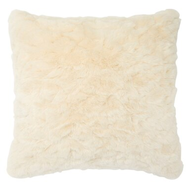 "TEXTURED FAUX FUR PILLOW COVER – IVORY, 18"" X 18"""