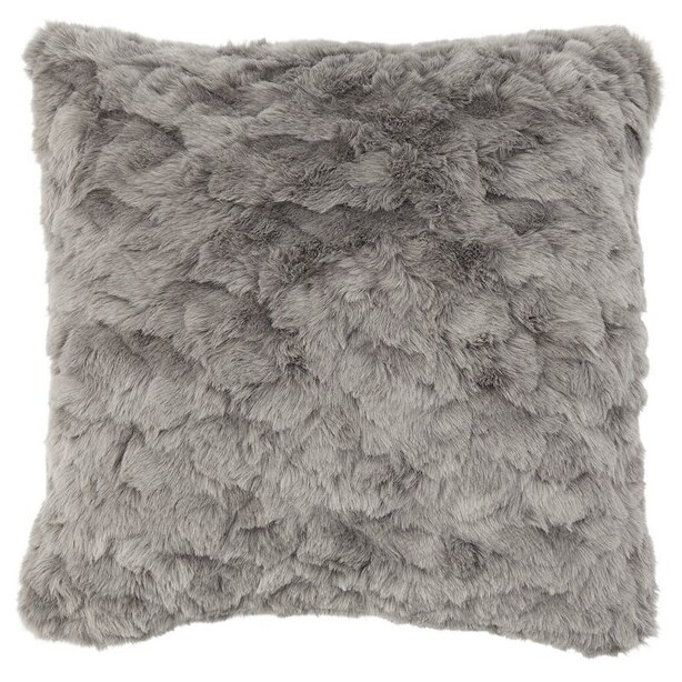 "TEXTURED FAUX FUR PILLOW COVER – GREY 18"" x 18"""