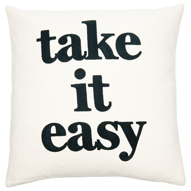 """EXPRESSIONS TAKE IT EASY PILLOW COVER – 18"""" X 18"""""""