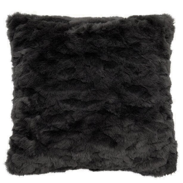 "TEXTURED FAUX FUR PILLOW COVER – SOFT CHARCOAL, 18"" X 18"""