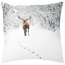 "PHOTO REAL WINTER STAG PILLOW COVER – 18"" X 18"""