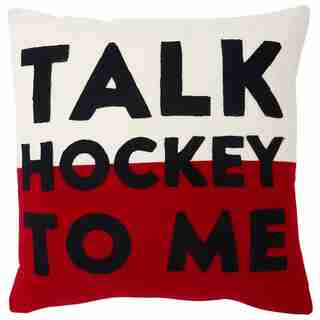 "EXPRESSIONS HOCKEY TALK PILLOW COVER – 18"" X 18"""