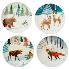 WOODLAND ANIMALS PLATES – SET OF 4