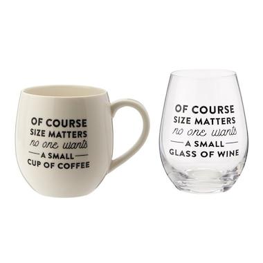 Of Course Size Matters Mug and Glass Set