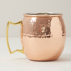 HAMMERED COPPER MULE MUG WITH BRASS HANDLE