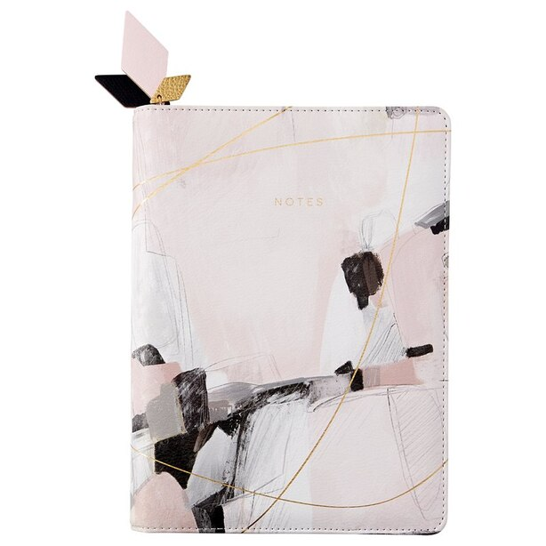 REFILLABLE ZIP JOURNAL GILDED ABSTRACT PINK