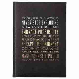 EMBOSSED JOURNAL CONQUER THE WORLD BLACK