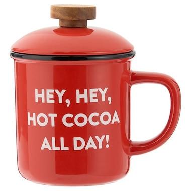 HOT COCOA ALL DAY WOOD TOP CAMP MUG