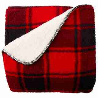 SHERPA FLEECE THROW BLANKET – MACDUFFIES PLAID, RED & BLACK