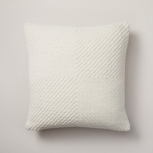 "OUI WOVEN CHENILLE PILLOW COVER BLEACHED STONE 18"" X 18"""