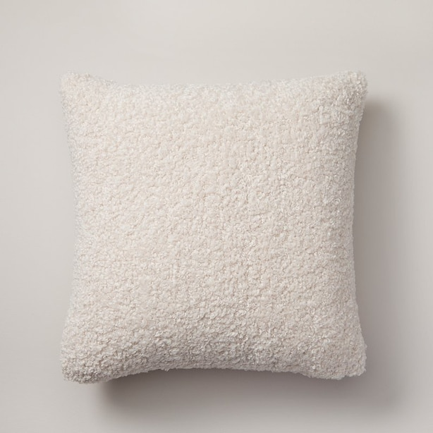 "SHAGGY FAUX-FUR PILLOW COVER – BLEACHED STONE, 18"" X 18"""
