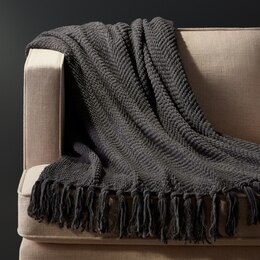 OUI CHEVRON CHENILLE THROW MEDIUM GREY