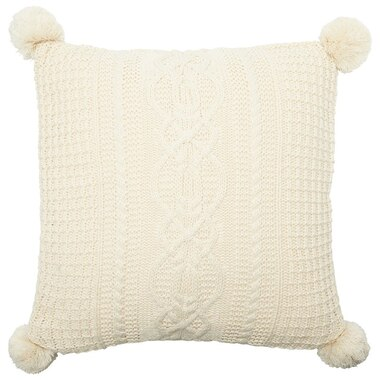 """CABLE-KNIT POM POM PILLOW COVER – IVORY, 18"""" X 18"""""""