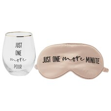 ONE MORE POUR WINE GLASS & EYE MASK SET