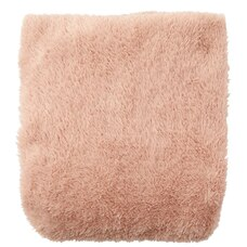 KNIT FAUX-FUR THROW BLANKET – DUSTY BLUSH