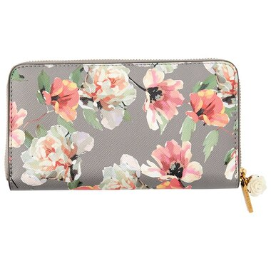 LOVE AND LORE AVA CHARM WALLET POPPY FLORAL CHARCOAL