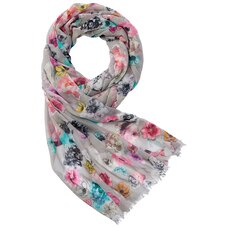 LOVE AND LORE POP FLORAL SCARF GREY