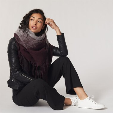 LOVE AND LORE OMBRE SCARF EGGPLANT