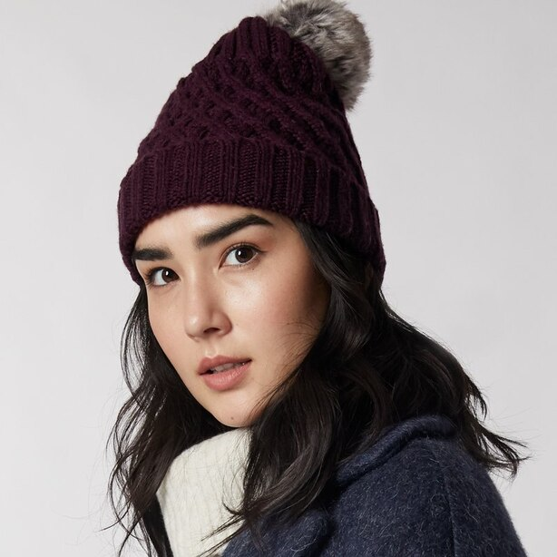 LOVE AND LORE REMY RIB HAT PLUM