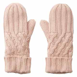LOVE AND LORE REMY RIB MITTENS BLUSH PINK