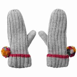 LOVE AND LORE PARTY POM MITTEN GREY HEATHER